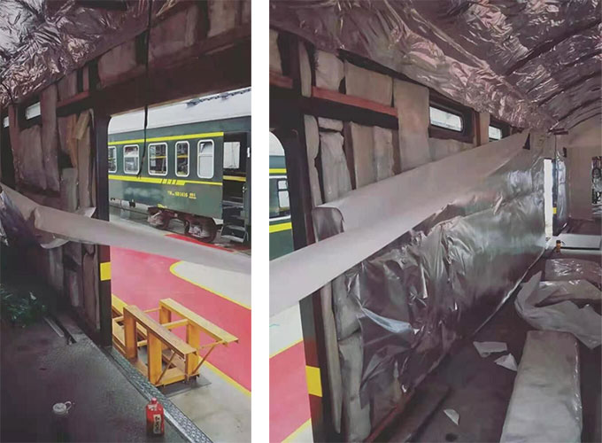 Aluminum foil tapes Insulation for train walls and ceilings.